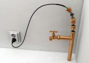 Ставим греющий кабель внутри трубы для водопровода