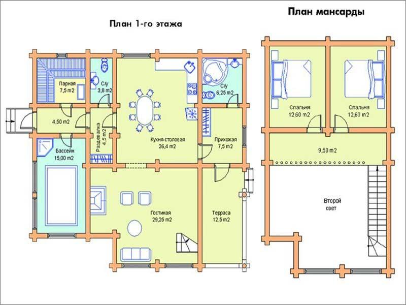 Баня на первом этаже